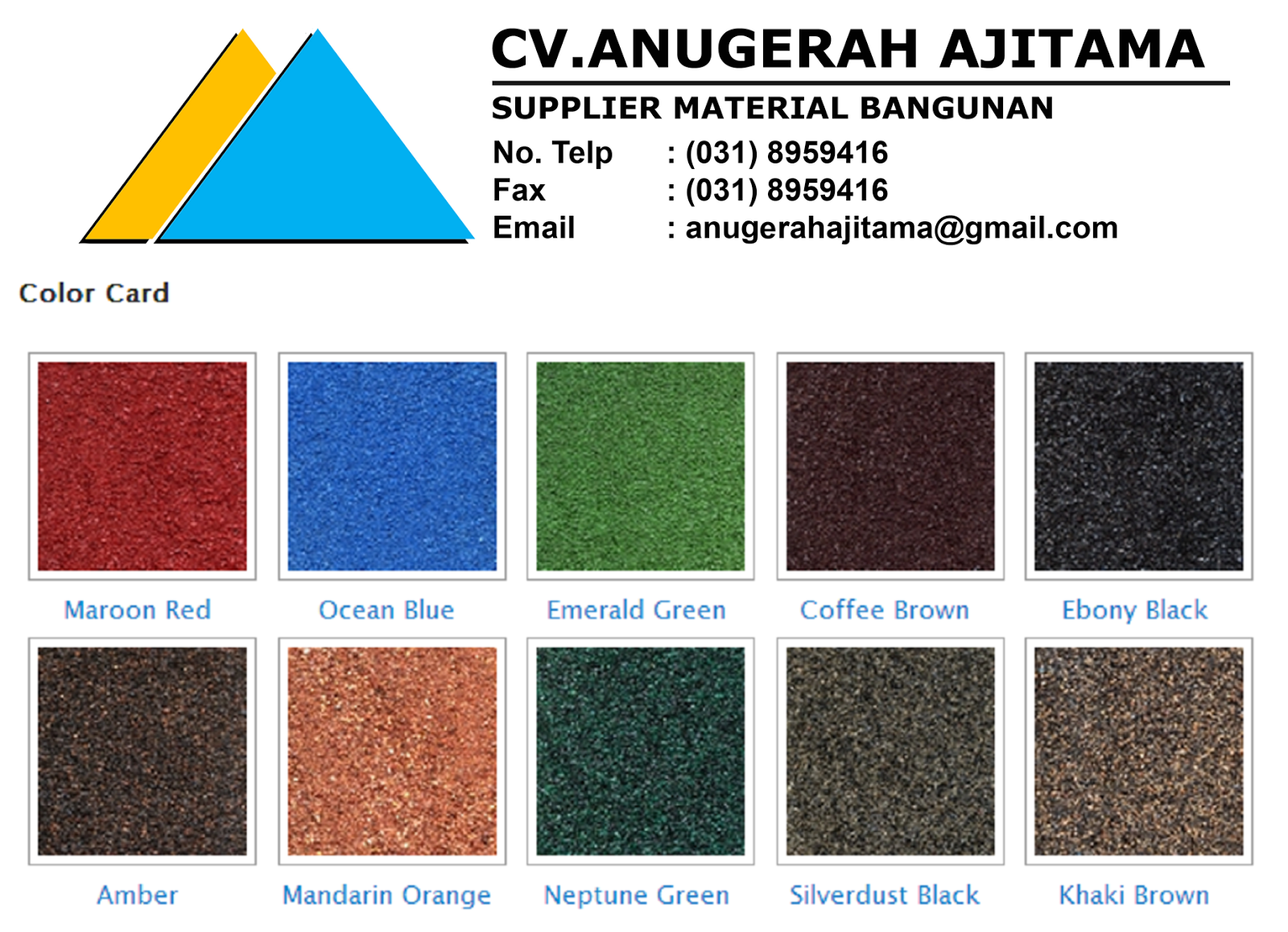 GENTENG METAL ARISTA ROOF WARNA BATUAN