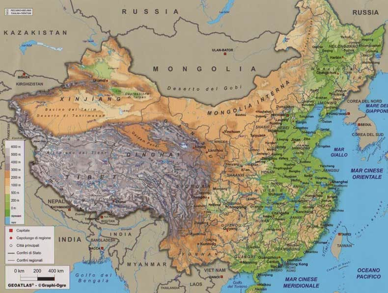 Relief map of China labelled