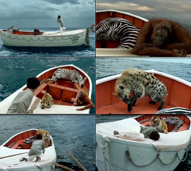 As aventuras de Pi- animais no bote