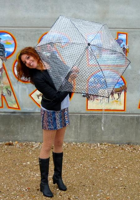 paraguas transparente lunares
