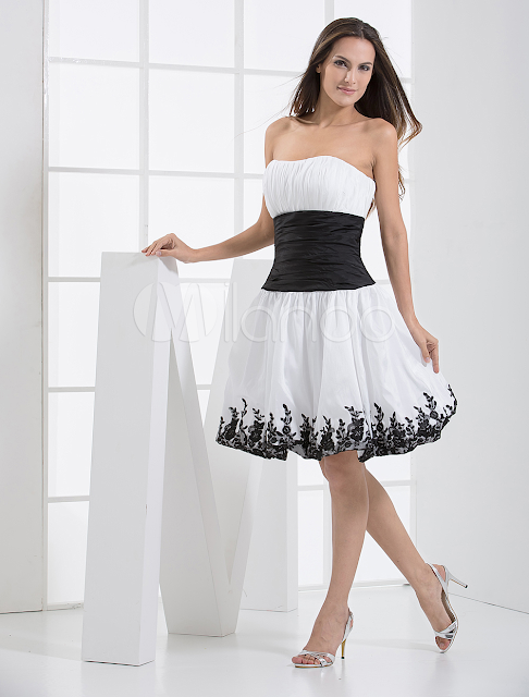 China Wholesale Clothes - Strapless Sash Applique Taffeta Summer Cocktail Homecoming Prom Dress