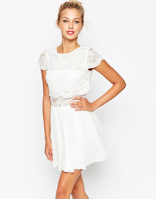lace crop top mini skater dress from ASOS