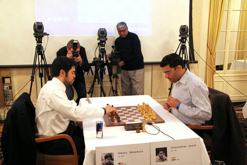 Nakamura y Anand en la partidad final del Zurich Chess Challenge