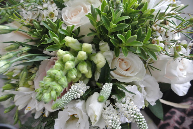 DIY bridal bouquet wedding flowers roses freesias veronica lisianthus agapanthus stocks