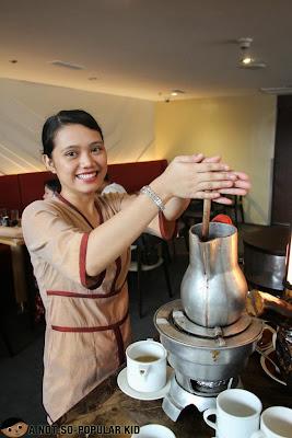 Preparing the Batirol Chocolate Drink in F1 Hotel Manila
