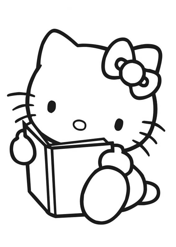 Desenhos Preto e Branco Hello Kitty Na Escola Colorir