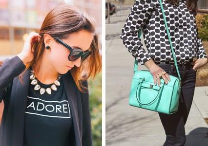j'adore, french saying tshirt, kate spade black earrings, black gum drops, turquoise purse, holly street purse, kate spade purse, kate spade bow blouse
