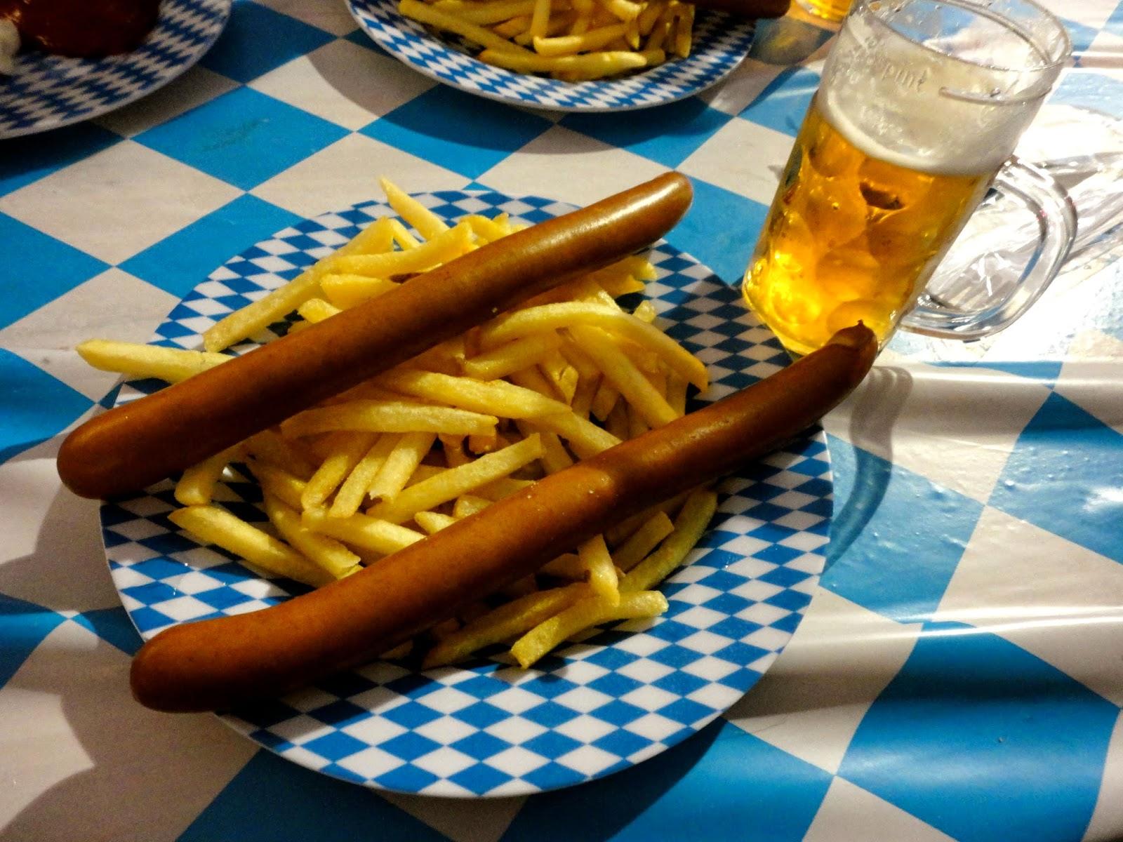 german sausage fries and beer at edinburgh oktoberfest