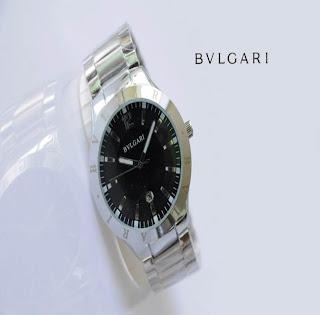 jam tangan keren BVLGARI 317 SILVER BLACK