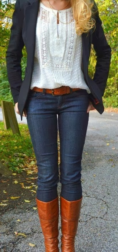 Black Jacket and Jeans, Blouse and Long Boots with Suitable Belt