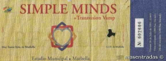 entrada de concierto de simple minds