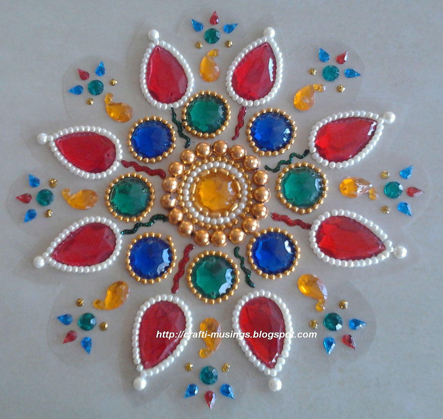 Crafti Musings Sparkling Kundan Rangoli 2