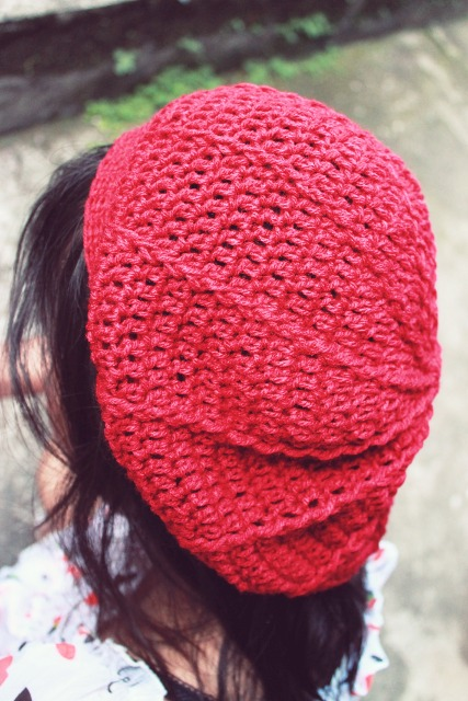 crochet ribbed beret hat