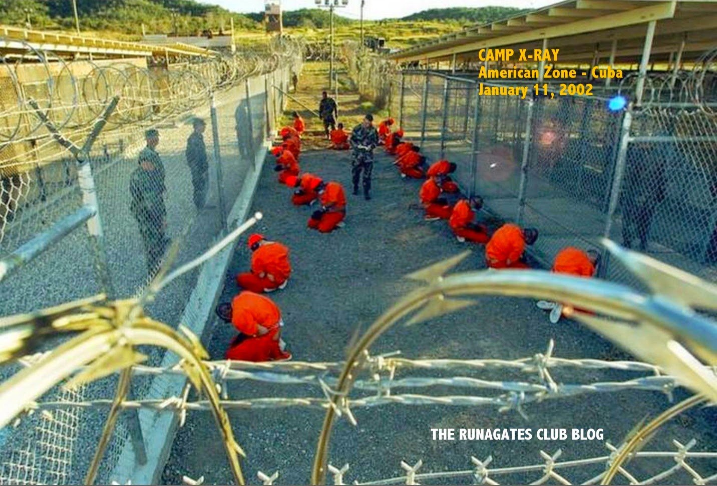 Muslim detainees 2002 - Camp X-Ray, Guantanamo Bay