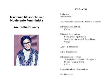 """""""Tendenze filosofiche nel Movimento Femminista"""", un libro di Anuradha Ghandy."""