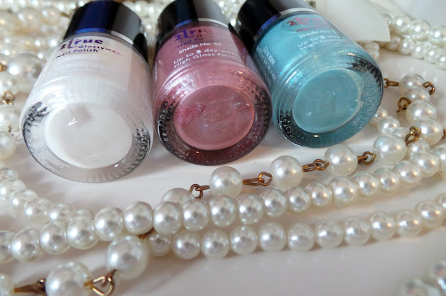 2true pearl collection polish - shade 58 pearl shade 59 oyster pink shade 57 pale blue review & swatches