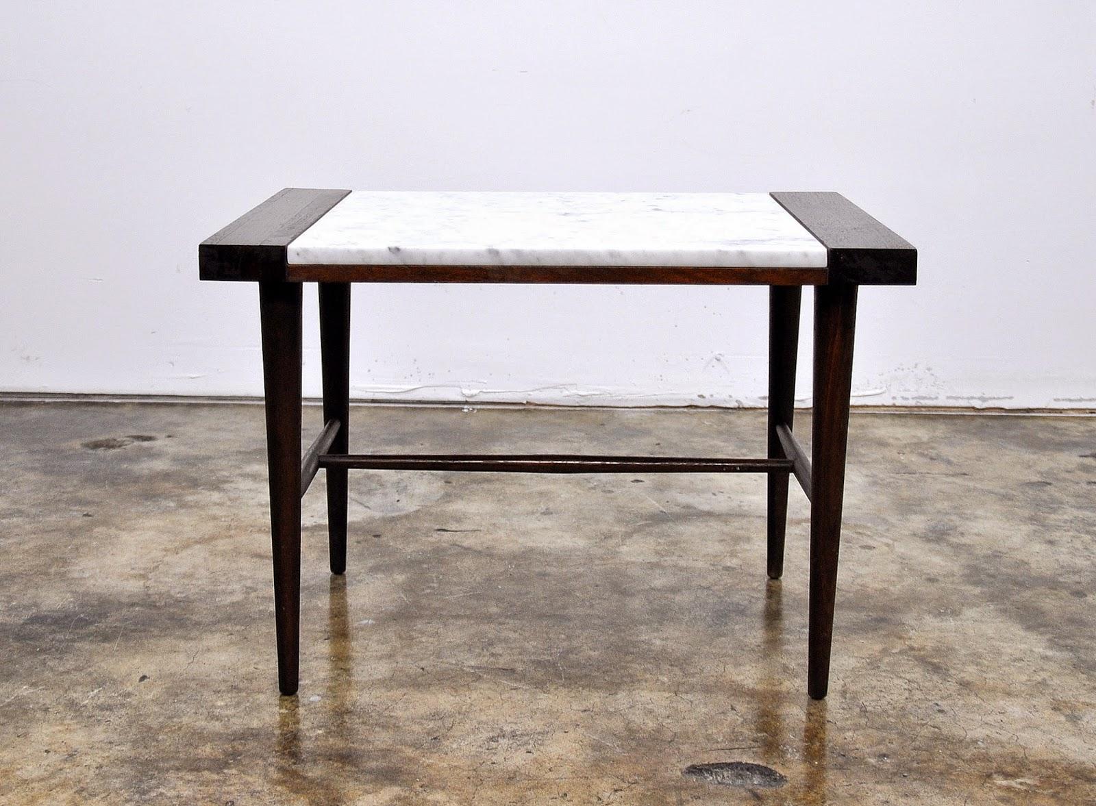 select modern danish modern marble top side or end table. Black Bedroom Furniture Sets. Home Design Ideas