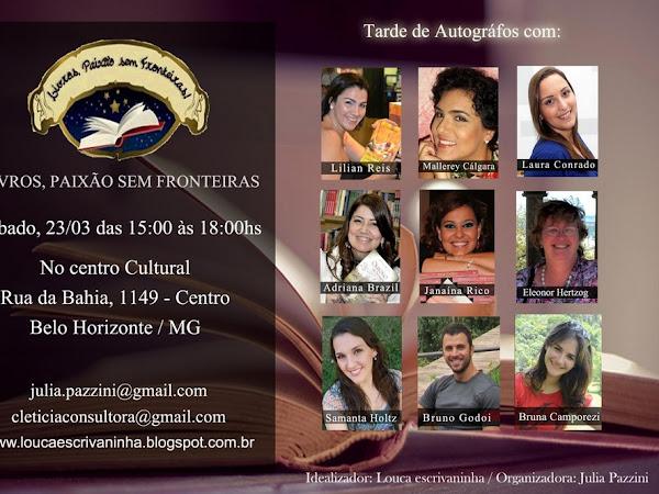 Livros, Paixão Sem Fronteiras em Belo Horizonte com tarde de autógrafos
