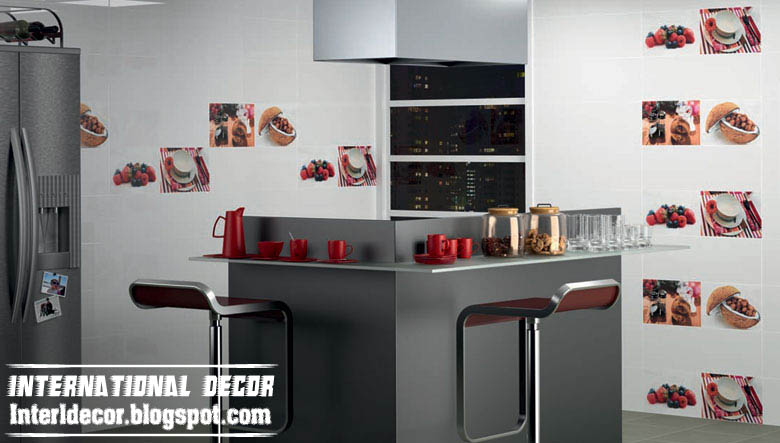 Contemporary Kitchens Wall Ceramic Tiles Design White Styles
