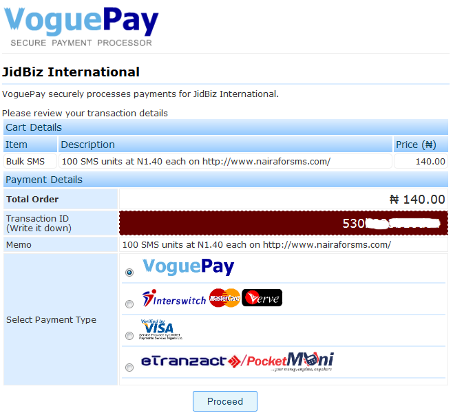 Voguepay payment page