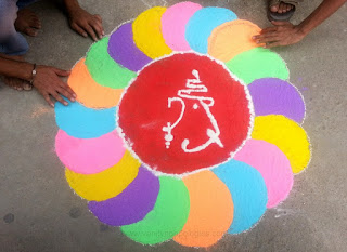 making makarsankranti rangoli 2016