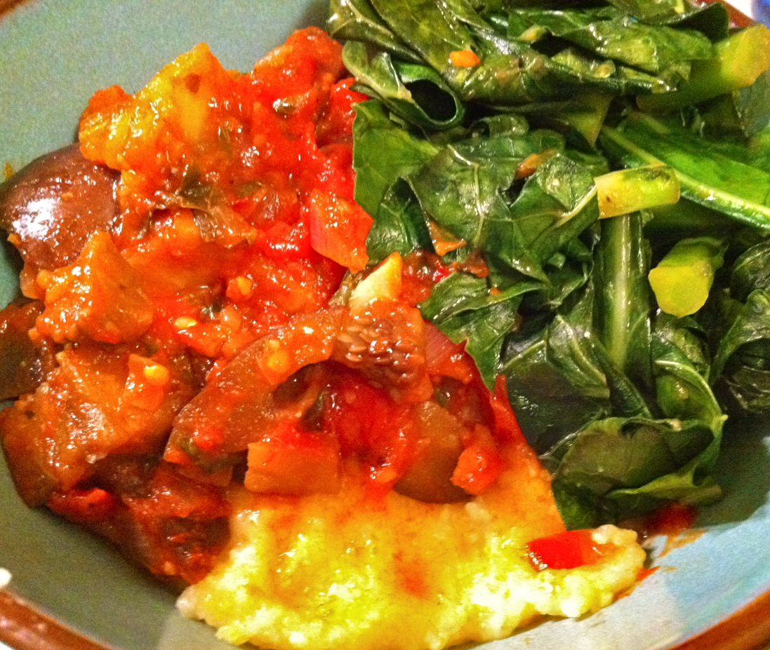 Evolve vegan ratatouille and collards over creamy polenta for Creamy polenta with mushrooms and collards