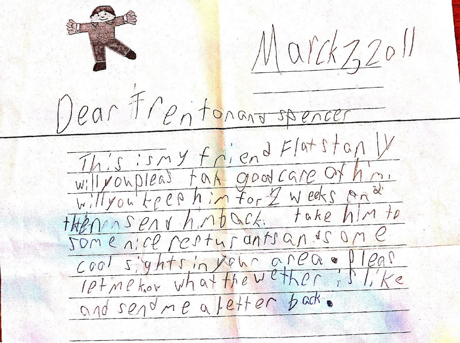 flat stanley letter please bring the final draft addresses if i