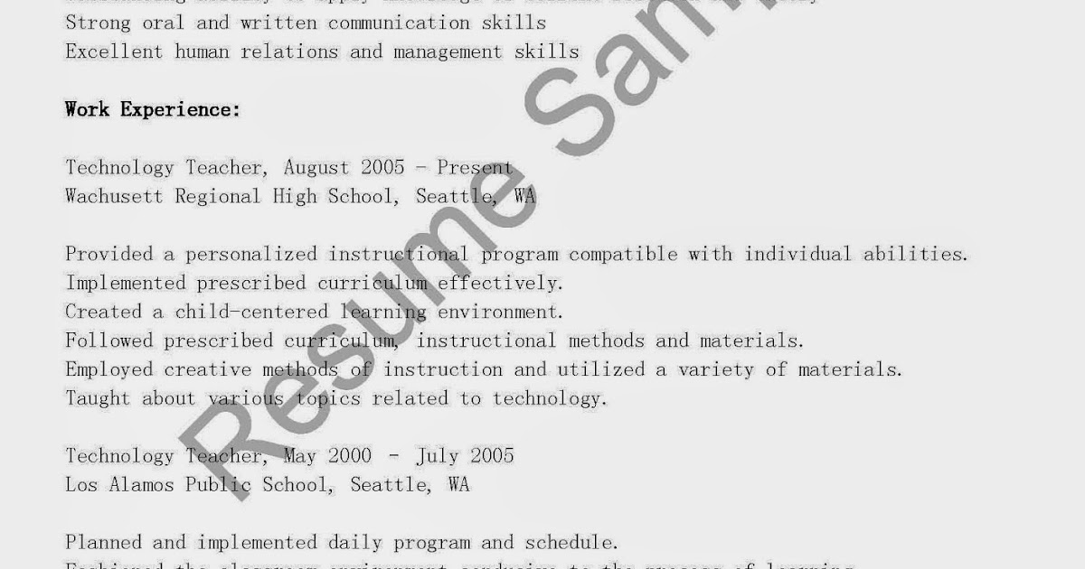 Teacher Objectives Resume Samples  Sunday School Teacher Resume