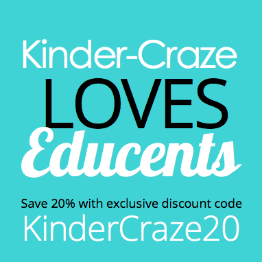 "use discount code ""KinderCraze20"" to save 20% on all Educents purchases"