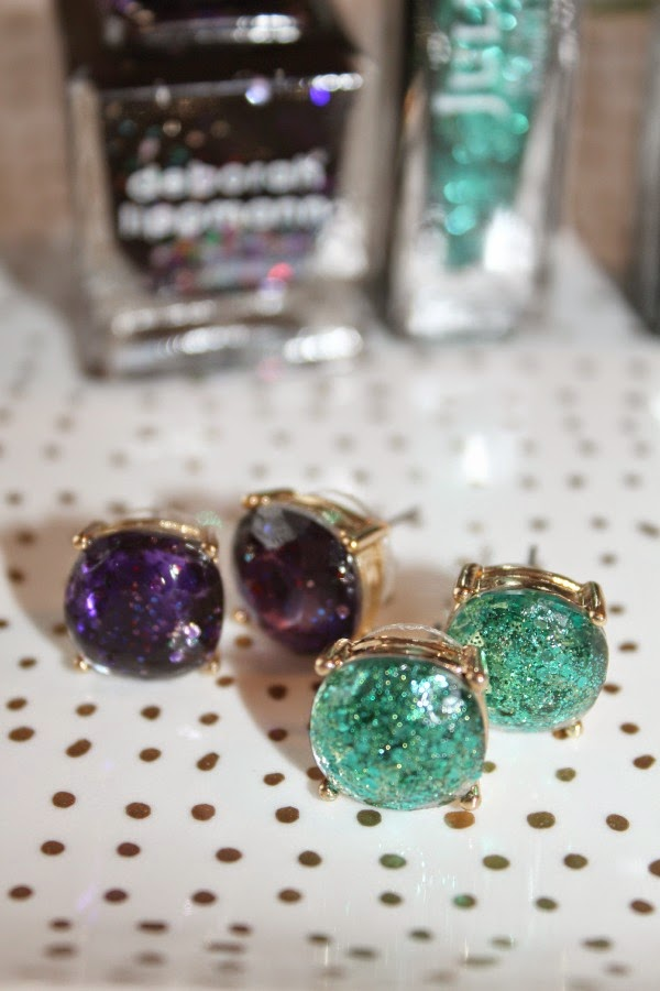 diy glitter stud earrings