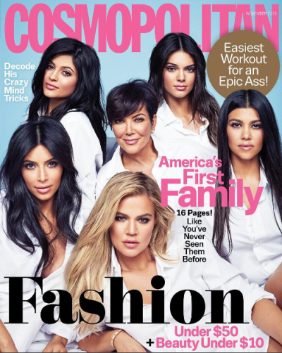 Kardashians on cover of Cosmopolitan 50th anniversary and named by them as America's 1st family.