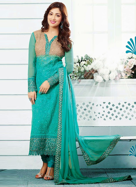 Latest Straight Long Semi Georgette Salwar Kameez