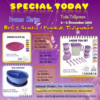 Promo Harian Tulipware 2 Free 1 | 5 - 6 Desember 2013, Dining Plate, Oval Lunch Box, Large Tea Set
