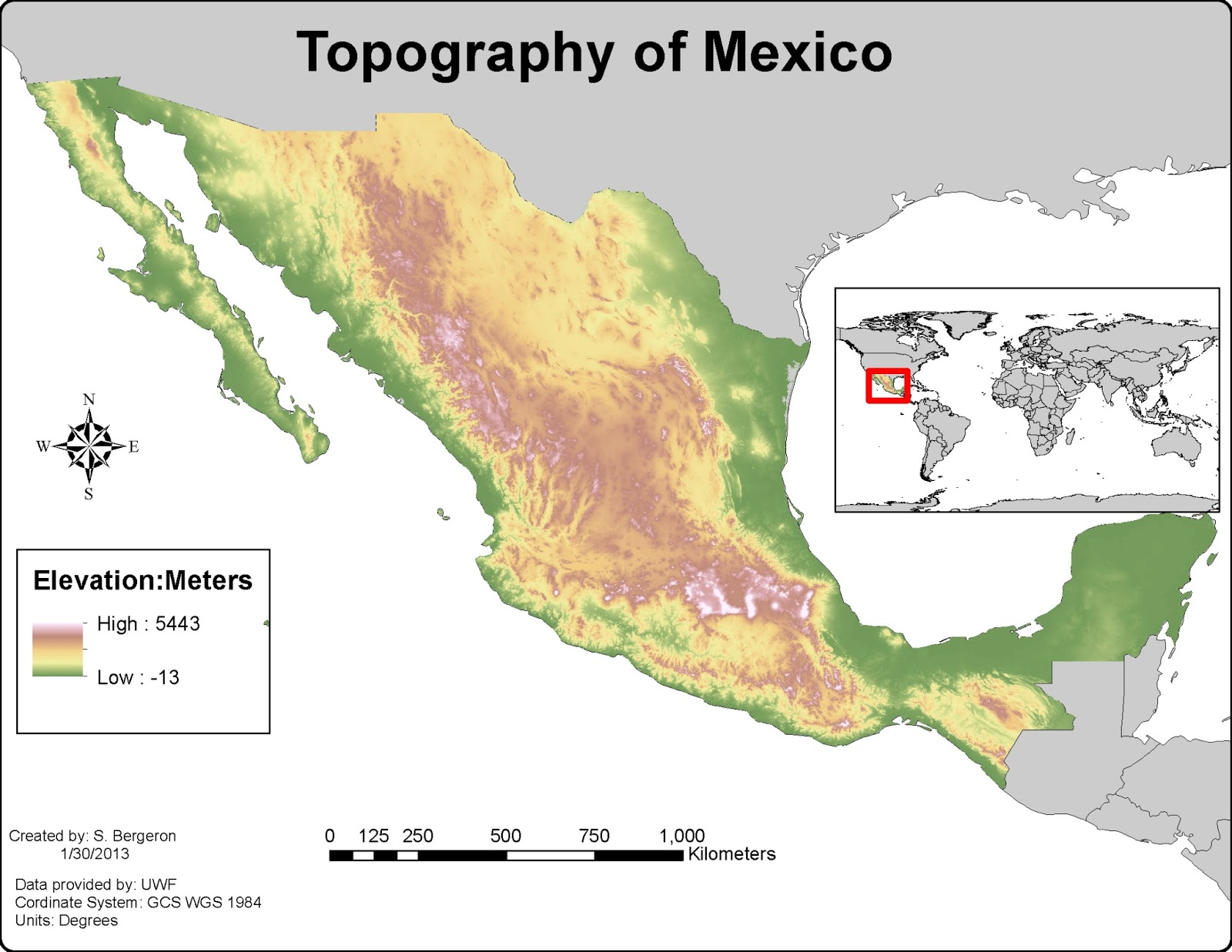 the last map for lab 3 depicts the topography of mexico in meters this map gave us our first opportunity to work with raster data in gis4043