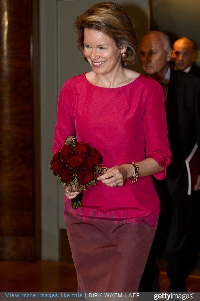 Queen Mathilde of Belgium arrives for the first session of the first round of the Queen Elisabeth Violin Competition 2015 at the Brussels' Flagey, on May 4, 2015.