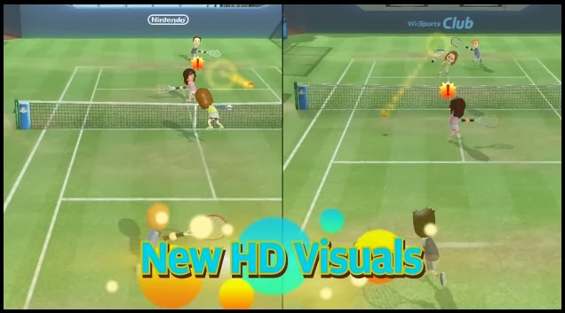 """Screenshot of Tennis in Wii Sports Club with the words """"New HD Visuals"""" displayed at the bottom of the image"""