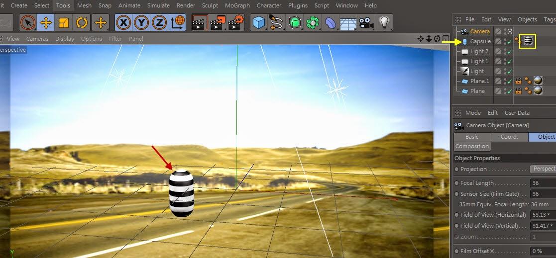 3d object on  2d image inC4D 21