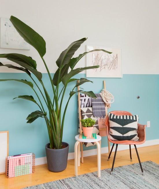 parede azul na sala