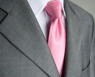grey suit, which actually works really well with the pale pink colour