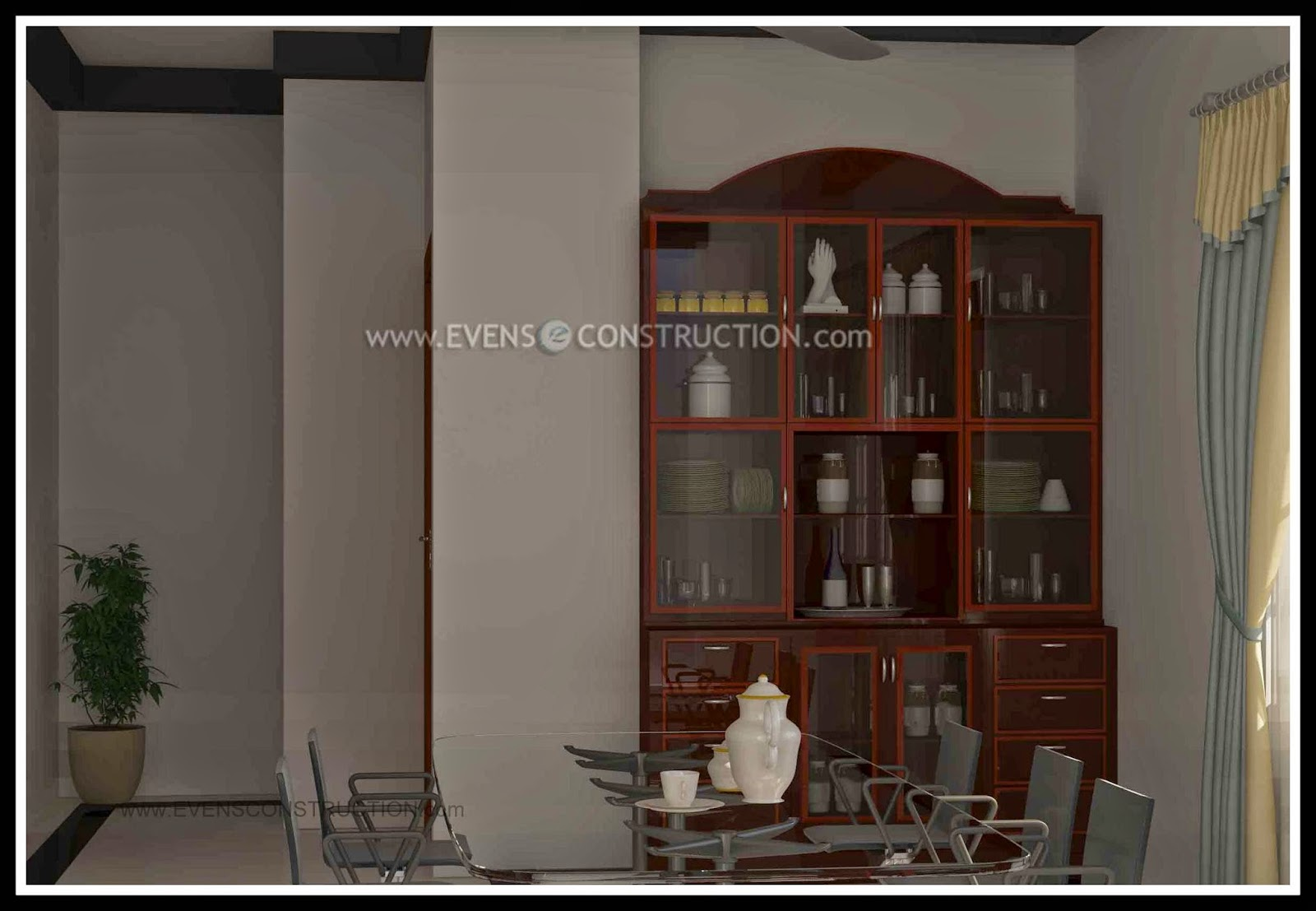 Crockery shelf for dining room home for Dining room designs in kerala