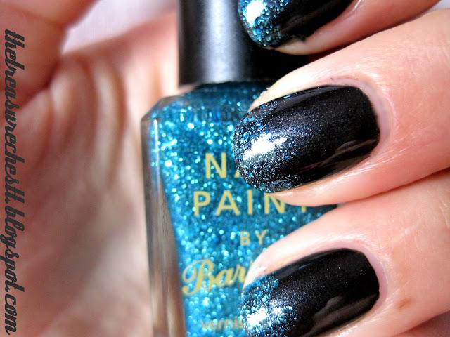 barry m aqua glitter and catrice back to black glitter tip manicure nails