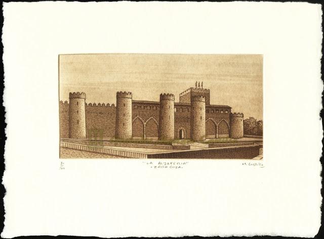 Grabado de parte de la muralla del Palacio