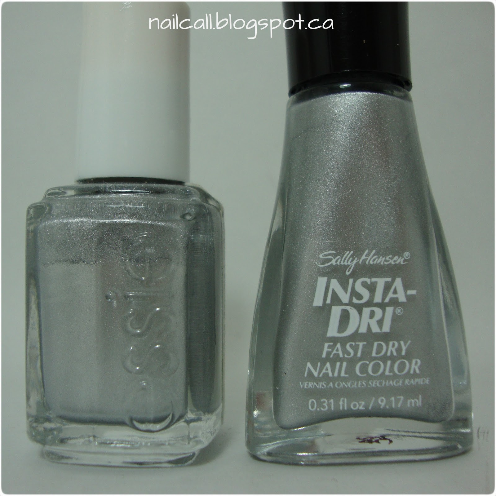 Bottles of Essie No Place Like Chrome and Sally Hansen Silver Sweep