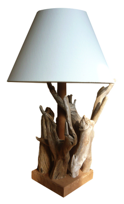 driftwood table lamps handmade using 100 natural driftwood our table. Black Bedroom Furniture Sets. Home Design Ideas