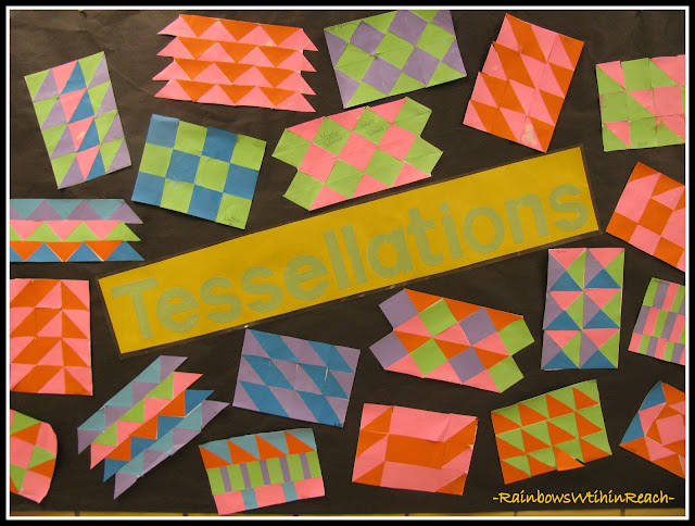 photo of: Bulletin Board of Math Tessellations + Patterns (from Bulletin Board RoundUP via RainbowsWithinReach)