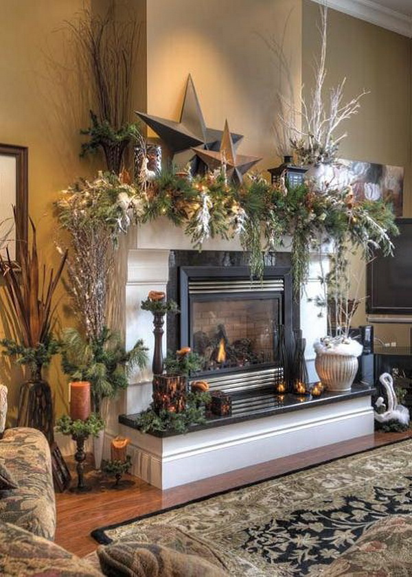 Christmas decoration ideas for fireplace ideas for home for Christmas mantel design ideas