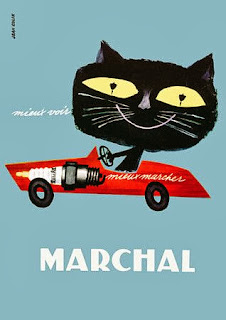 illustration for a Marchal advertisement of a cat in a car by french illustrator Jean Colin