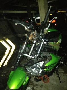 sepeda motor ustad jefry yang mengalami kecelakaan