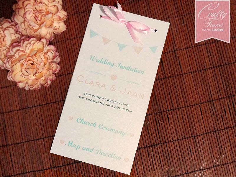 Kad Kahwin Layered Church Wedding Card in Peach and Mint Themed