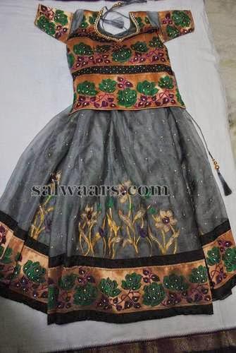 Gray Color Floral Kids Skirt